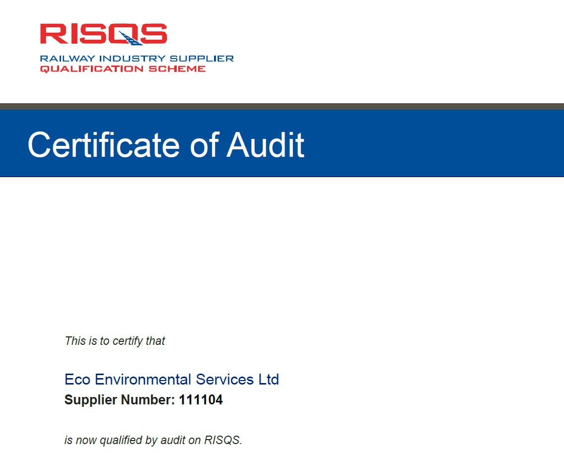 RISQS Qualified via Audit - Eco Environmental Services Ltd