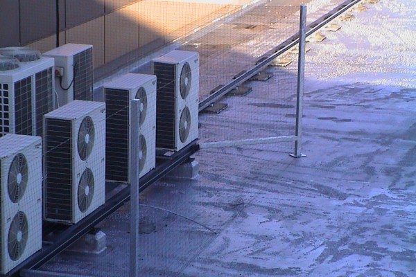 Protected Air Con Units using Bird Netting