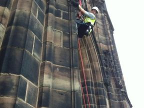 Bird netting installation and the removal of bird fouling was a tall job for Eco Environmental at Chester Cathedral