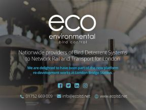 Eco Environmental are proud to be providing our full range of specialist Bird Control Services to Network Rail and Transport for London.